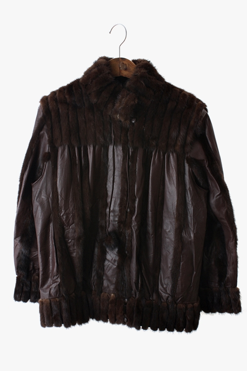 MINK FUR MIX VINTAGE LEATHER JACKET 리가먼트
